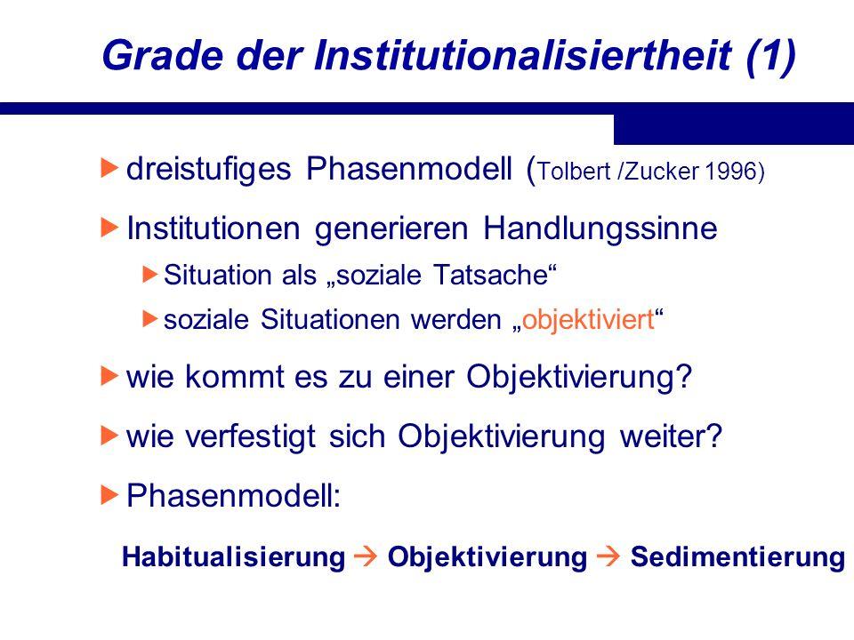 Grade der Institutionalisiertheit (1)