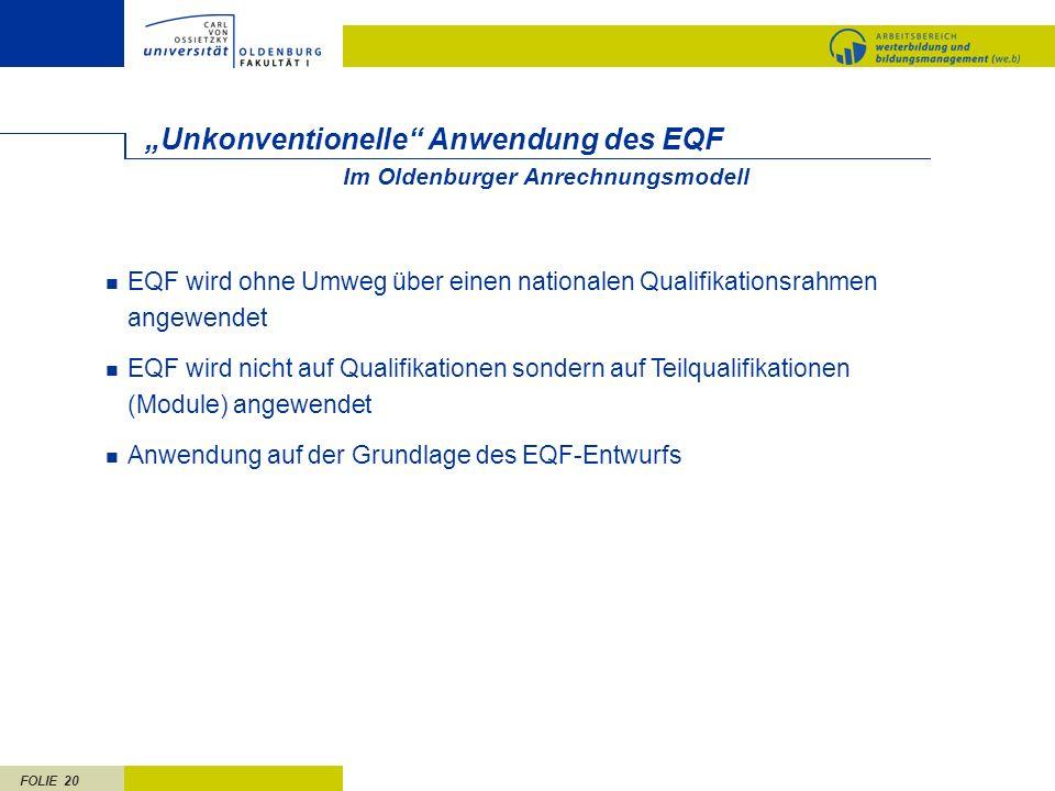 """""""Unkonventionelle Anwendung des EQF"""