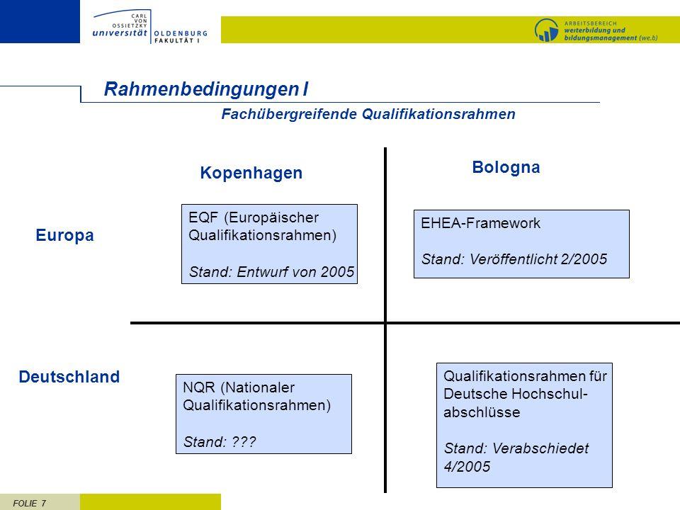 Rahmenbedingungen I Bologna Kopenhagen Europa Deutschland