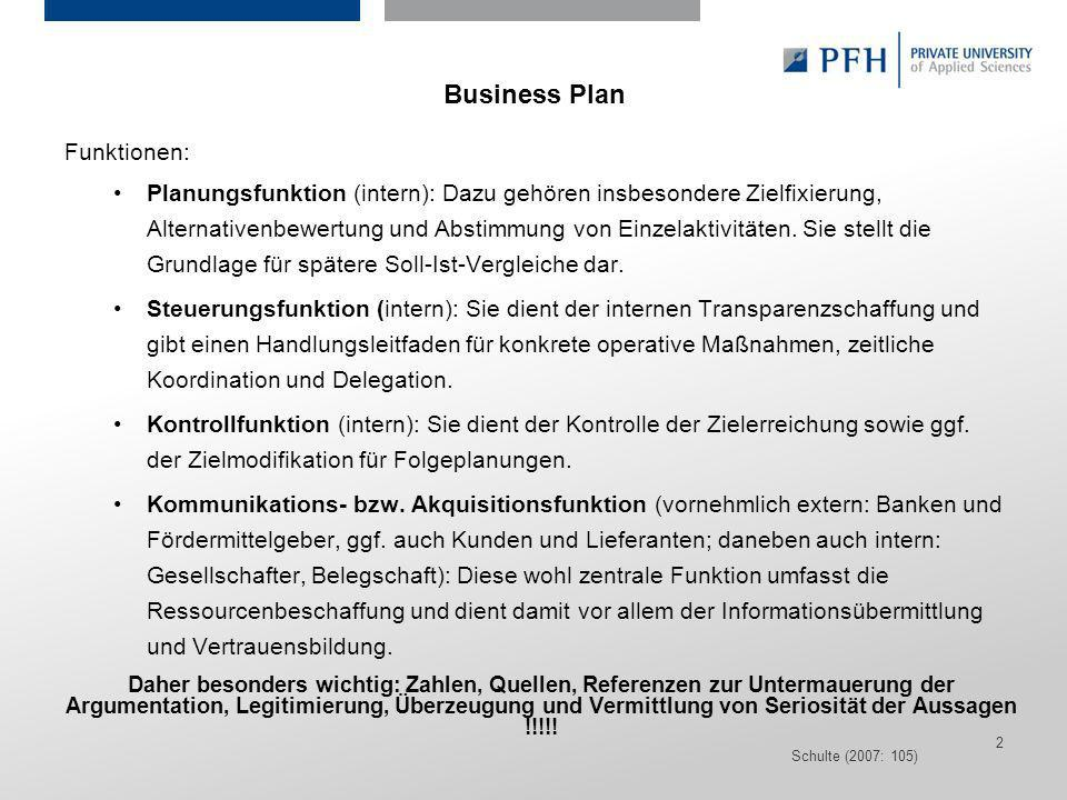 Business Plan Funktionen: