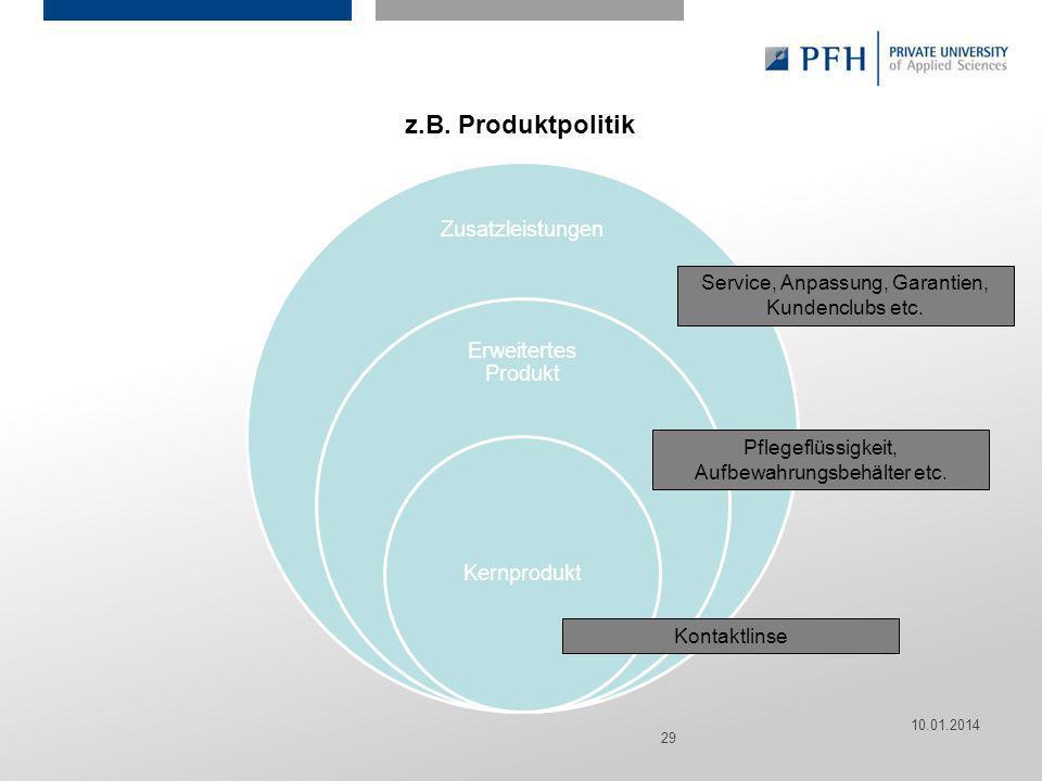 z.B. Produktpolitik Service, Anpassung, Garantien, Kundenclubs etc.