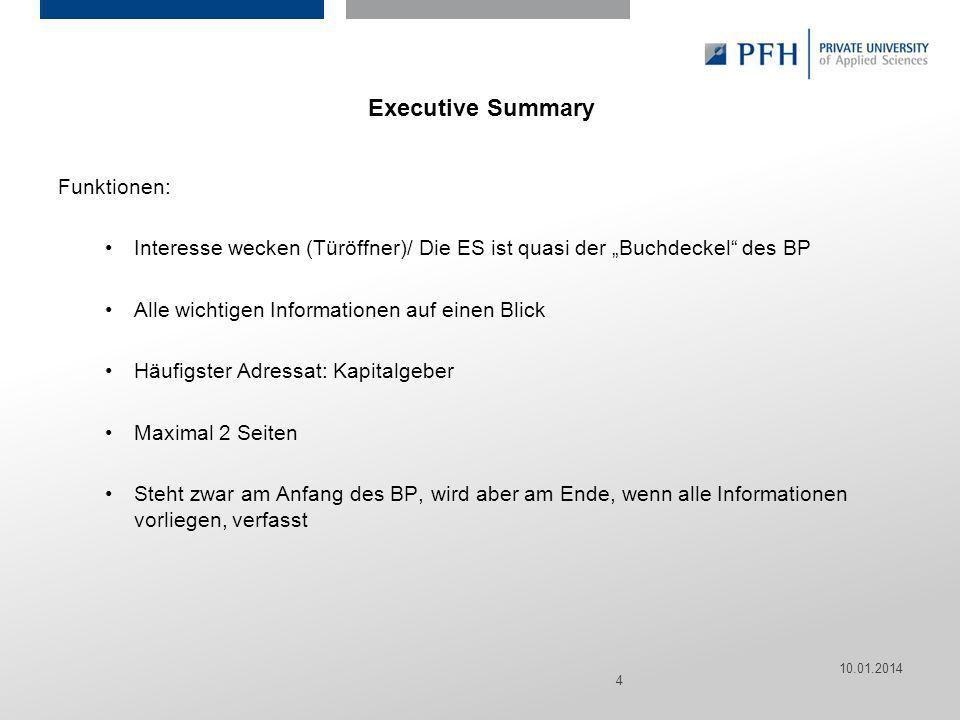 Executive Summary Funktionen: