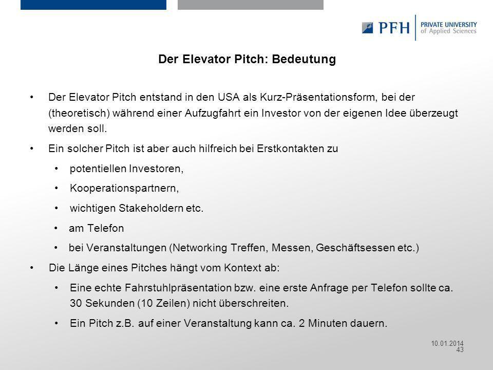 Der Elevator Pitch: Bedeutung