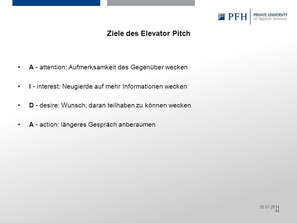 Ziele des Elevator Pitch