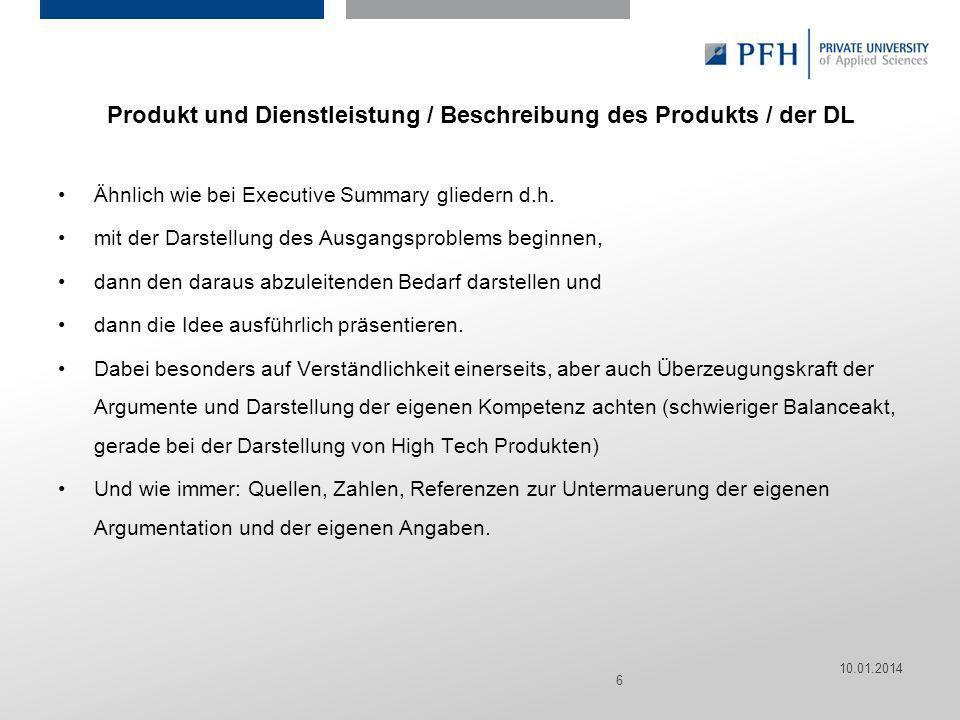 Produkt und Dienstleistung / Beschreibung des Produkts / der DL