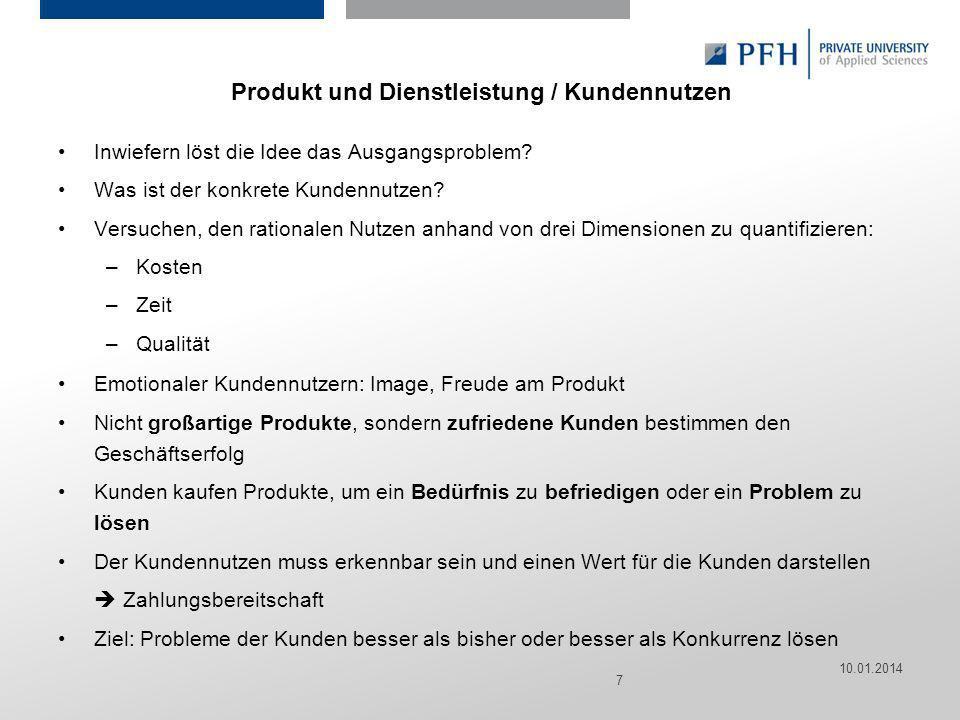 Produkt und Dienstleistung / Kundennutzen
