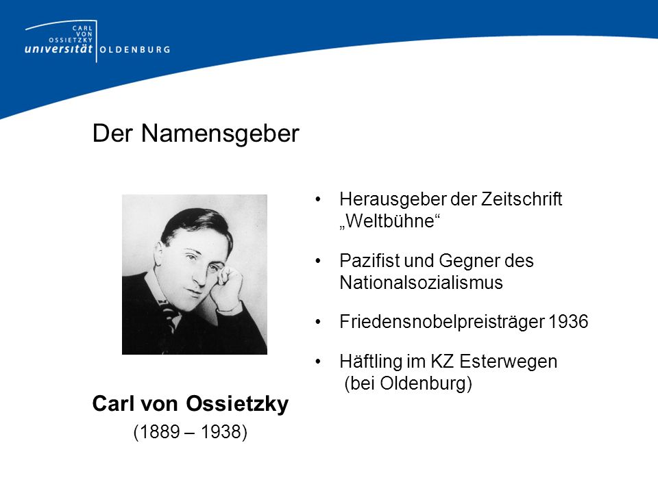 Der Namensgeber Carl von Ossietzky
