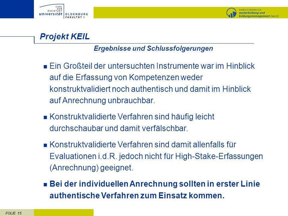 Projekt KEIL. Ergebnisse und Schlussfolgerungen.