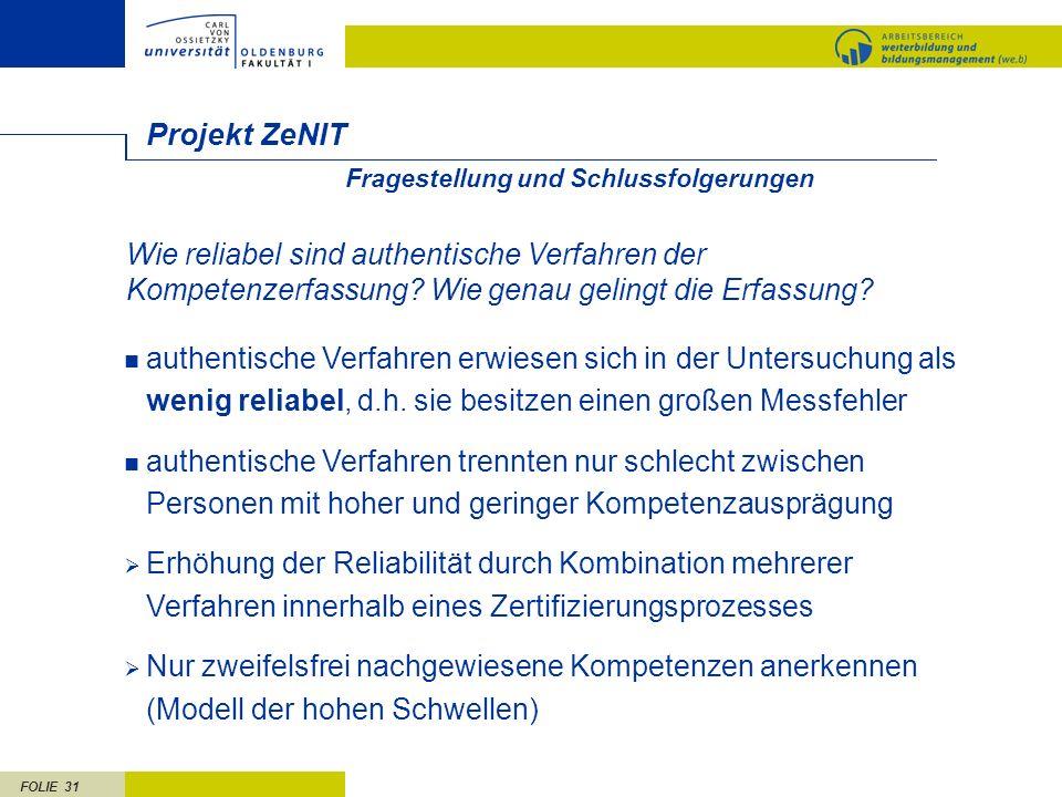 Projekt ZeNIT. Fragestellung und Schlussfolgerungen.