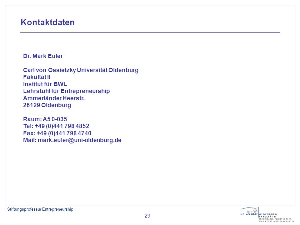 Kontaktdaten Dr. Mark Euler Carl von Ossietzky Universität Oldenburg