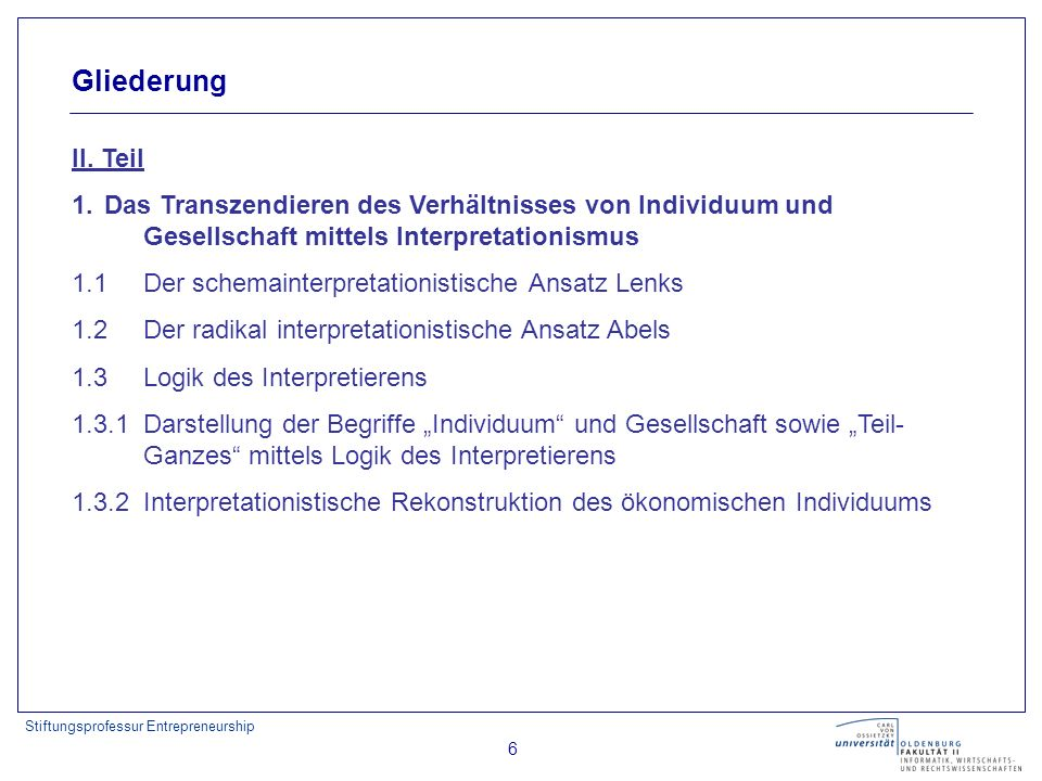 Gliederung II. Teil. 1. Das Transzendieren des Verhältnisses von Individuum und Gesellschaft mittels Interpretationismus.