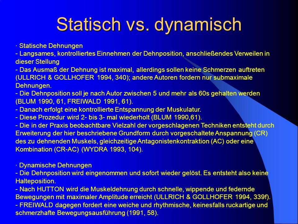 Statisch vs. dynamisch · Statische Dehnungen