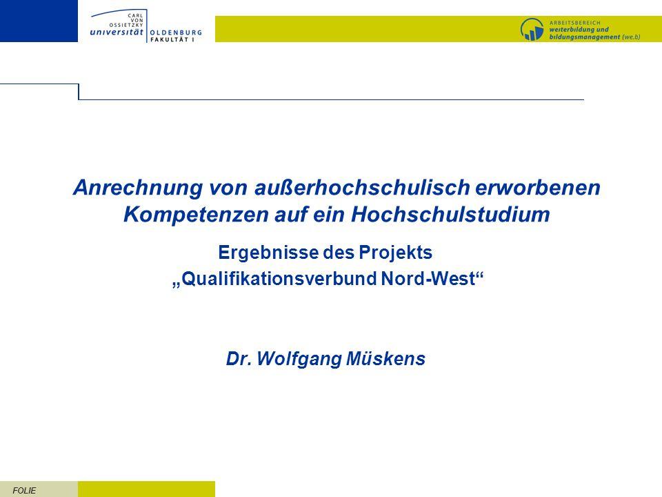 """Ergebnisse des Projekts """"Qualifikationsverbund Nord-West"""