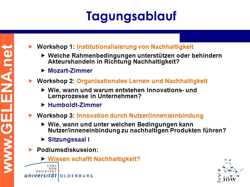 Tagungsablauf Workshop 1: Institutionalisierung von Nachhaltigkeit