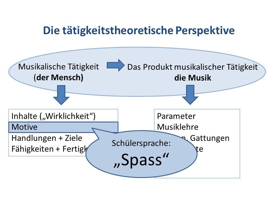 """""""Spass Die tätigkeitstheoretische Perspektive Musikalische Tätigkeit"""