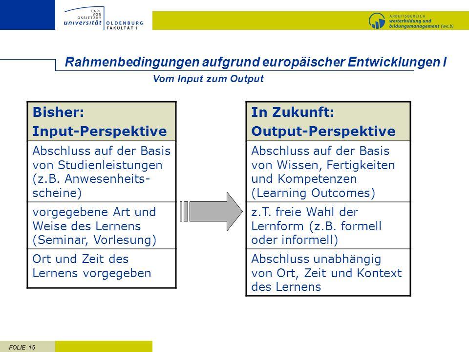 Rahmenbedingungen aufgrund europäischer Entwicklungen I