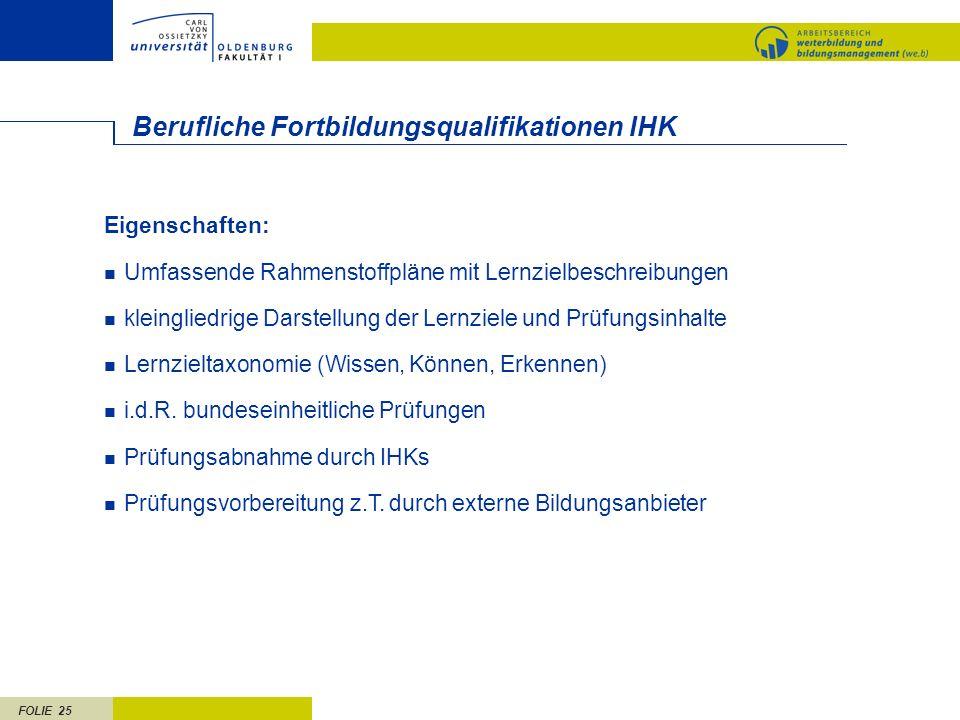 Berufliche Fortbildungsqualifikationen IHK