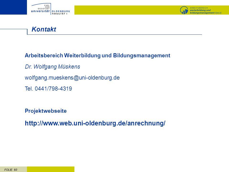 Kontakt http://www.web.uni-oldenburg.de/anrechnung/