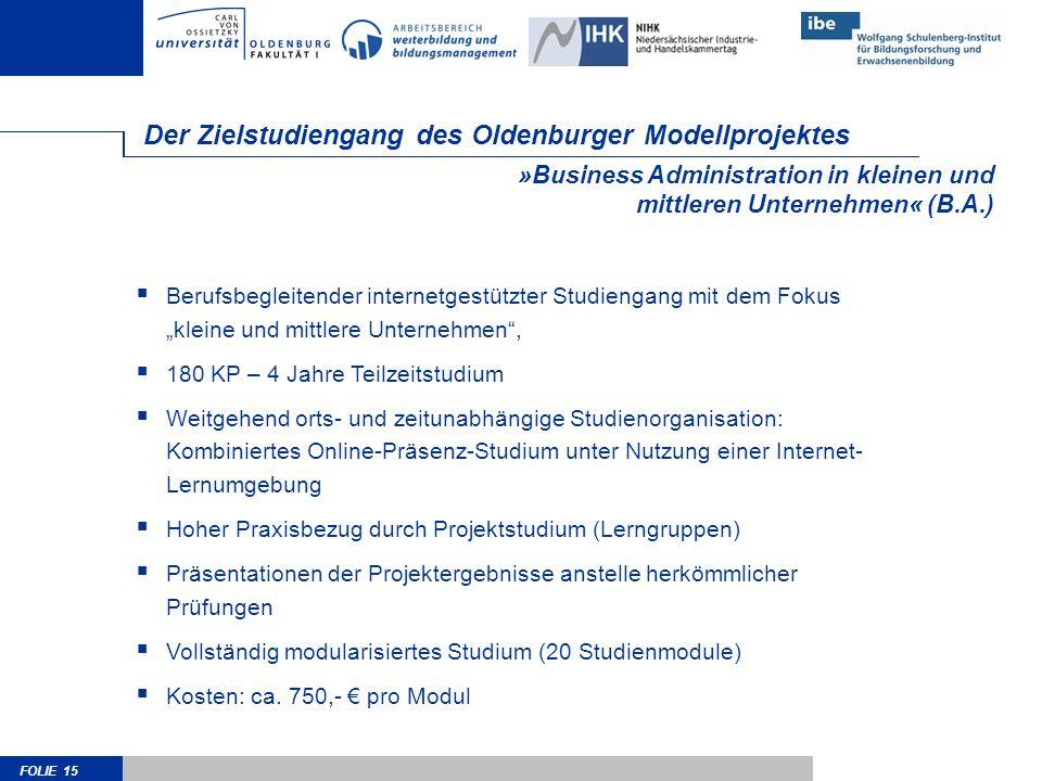 Der Zielstudiengang des Oldenburger Modellprojektes