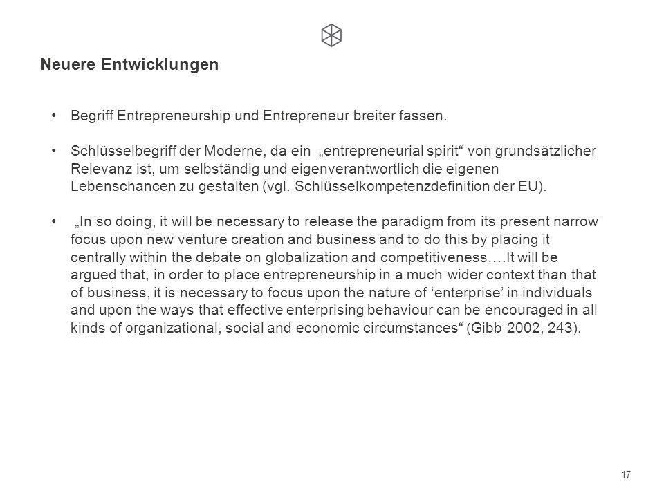 Neuere Entwicklungen Begriff Entrepreneurship und Entrepreneur breiter fassen.