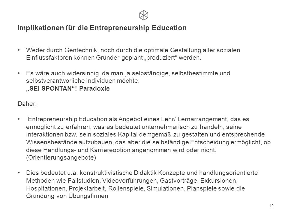 Implikationen für die Entrepreneurship Education
