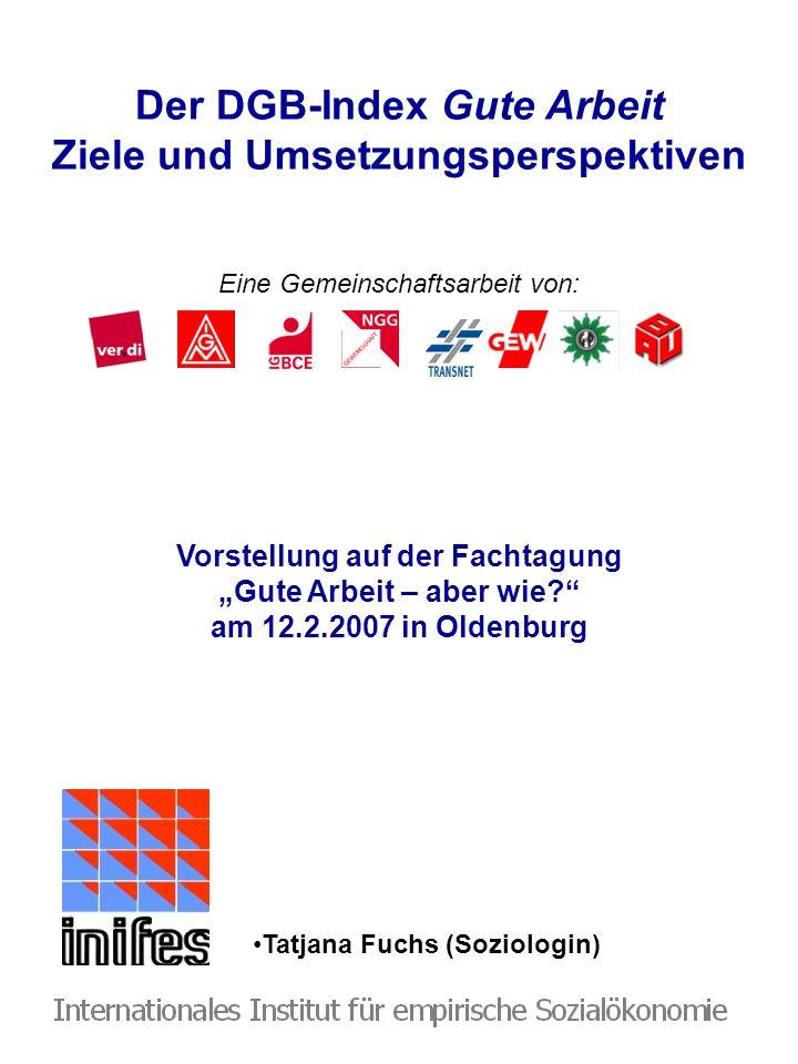Der DGB-Index Gute Arbeit Ziele und Umsetzungsperspektiven