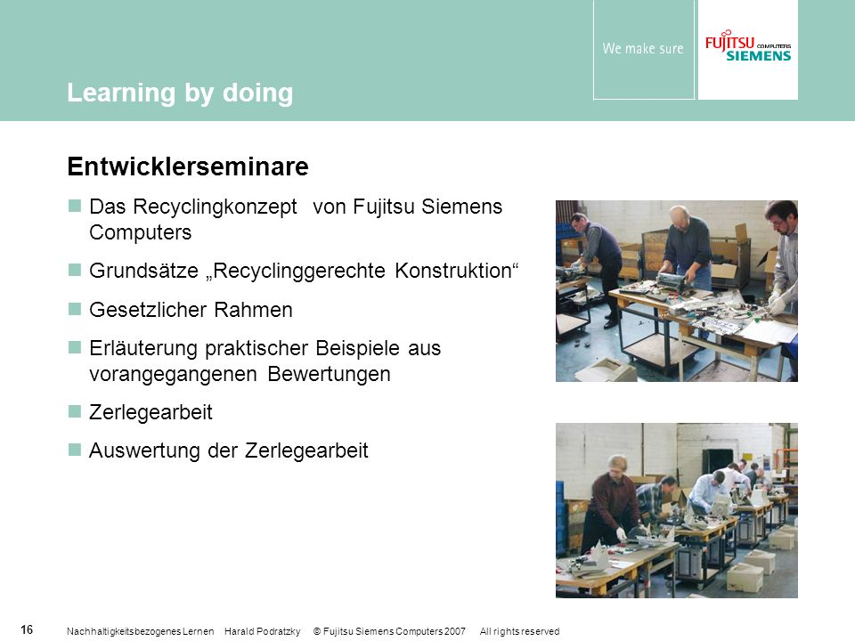 Learning by doing Entwicklerseminare