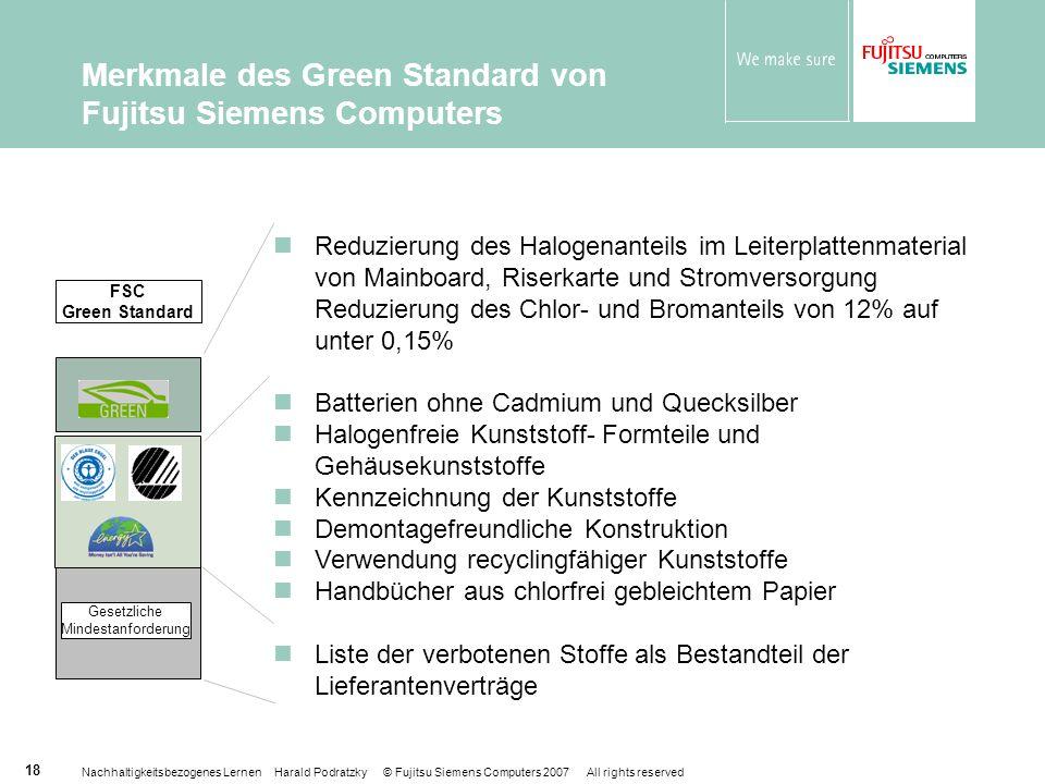 Merkmale des Green Standard von Fujitsu Siemens Computers