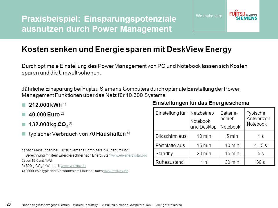 Kosten senken und Energie sparen mit DeskView Energy