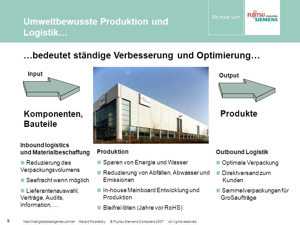 Umweltbewusste Produktion und Logistik…