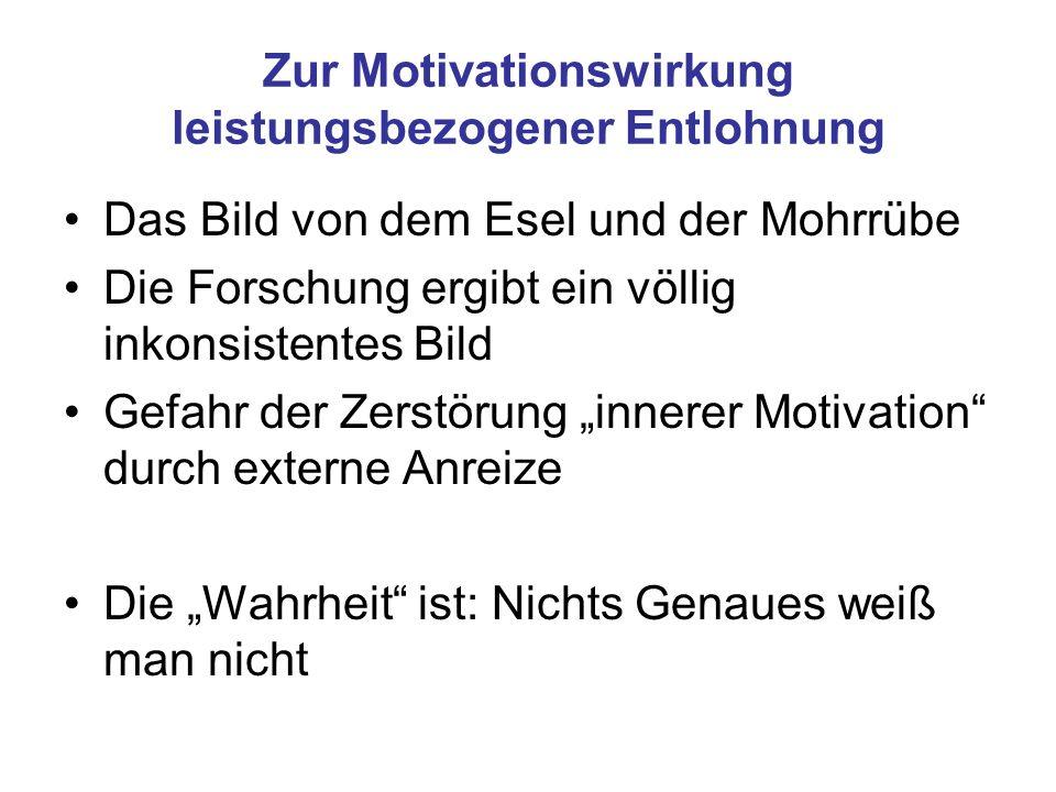 Zur Motivationswirkung leistungsbezogener Entlohnung