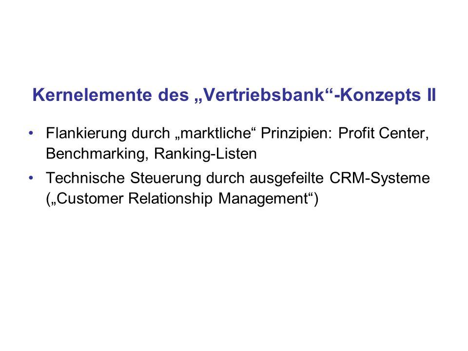 "Kernelemente des ""Vertriebsbank -Konzepts II"