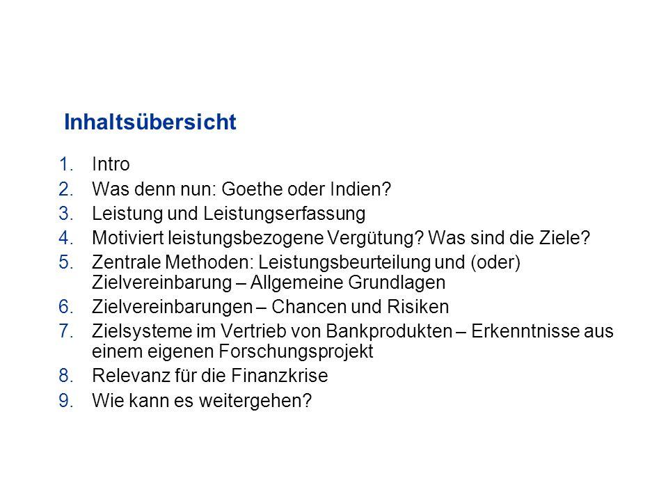 Inhaltsübersicht Intro Was denn nun: Goethe oder Indien
