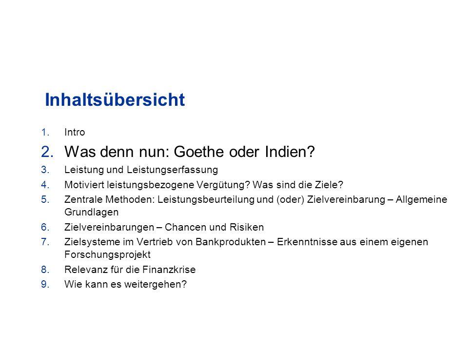 Inhaltsübersicht Was denn nun: Goethe oder Indien Intro