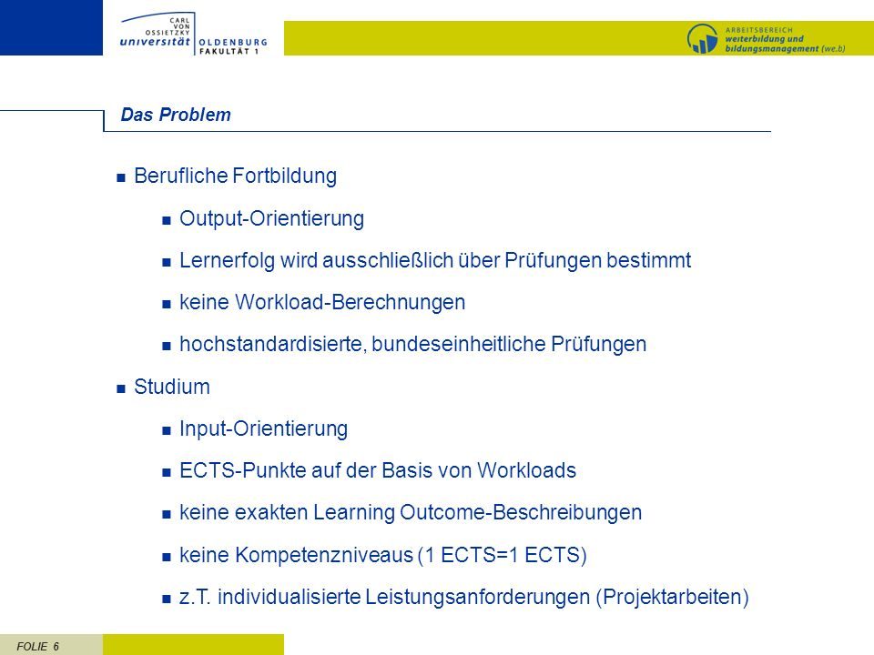Berufliche Fortbildung Output-Orientierung