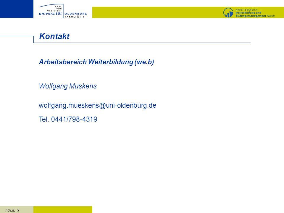 Kontakt Arbeitsbereich Weiterbildung (we.b) Wolfgang Müskens