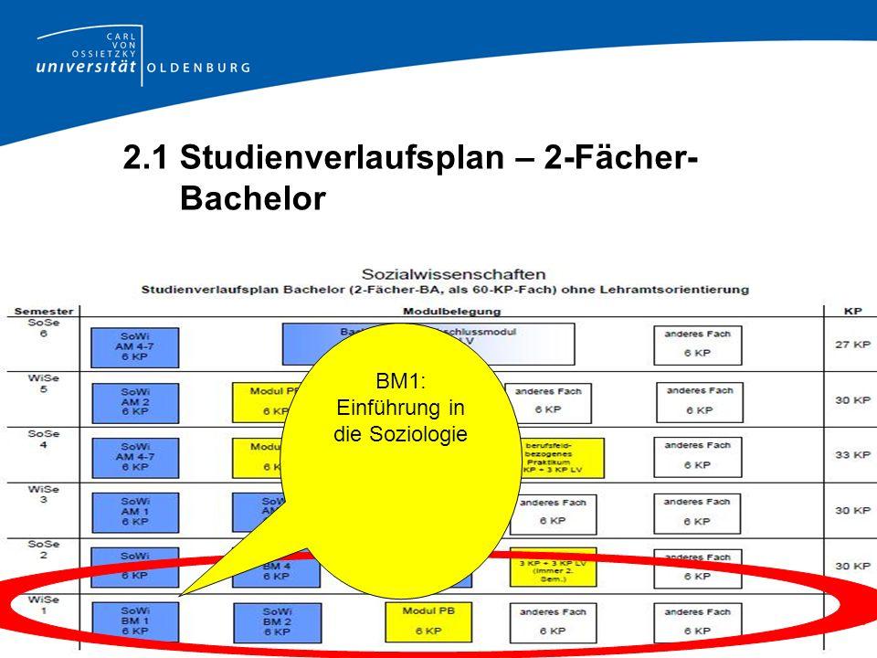 2.1 Studienverlaufsplan – 2-Fächer- Bachelor