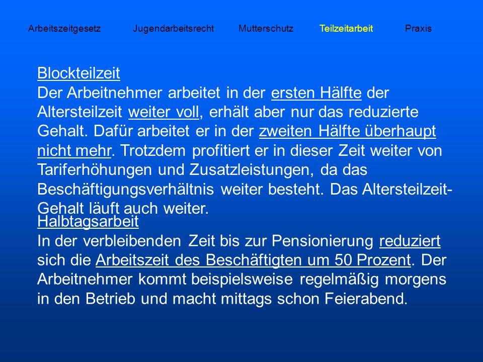 Arbeitszeitgesetz Jugendarbeitsrecht. Mutterschutz. Teilzeitarbeit. Praxis.