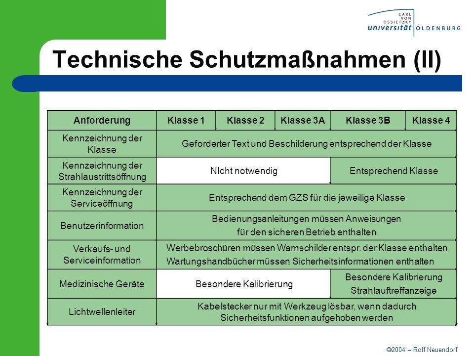 Technische Schutzmaßnahmen (II)