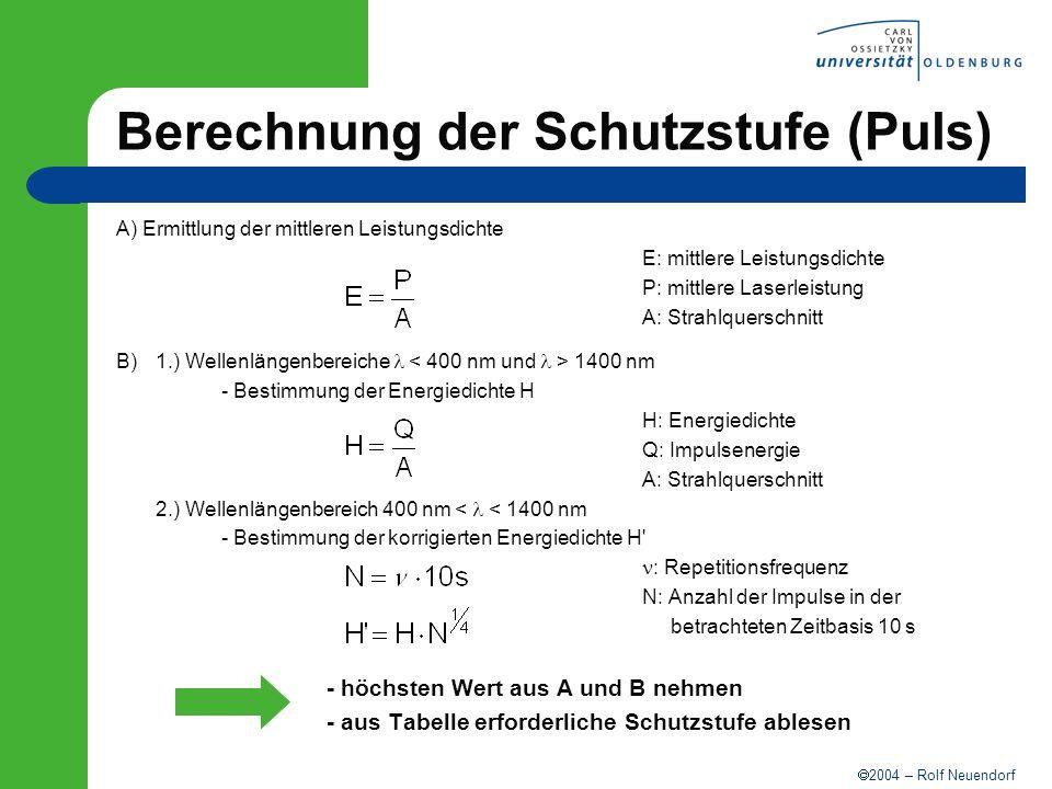 Berechnung der Schutzstufe (Puls)