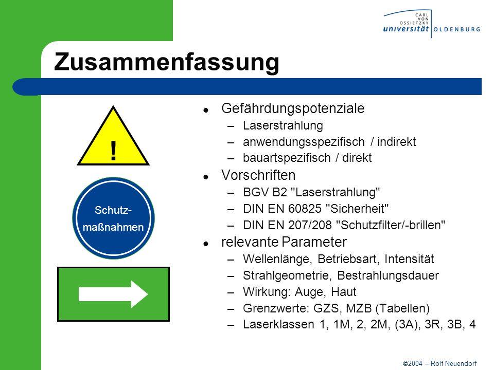 ! Zusammenfassung Gefährdungspotenziale Vorschriften