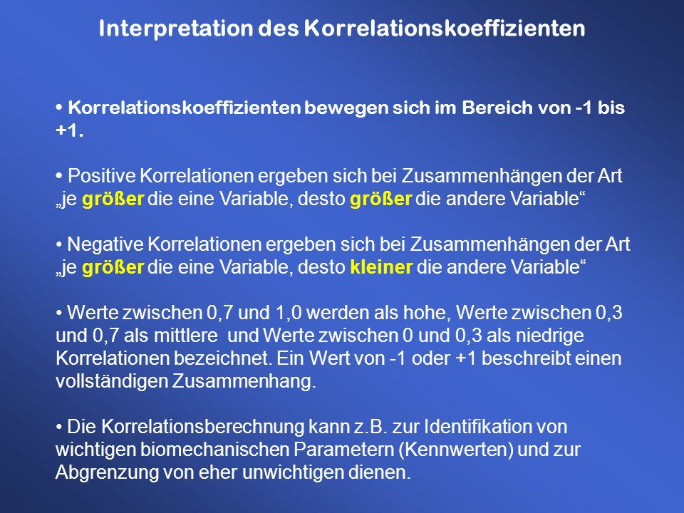Interpretation des Korrelationskoeffizienten