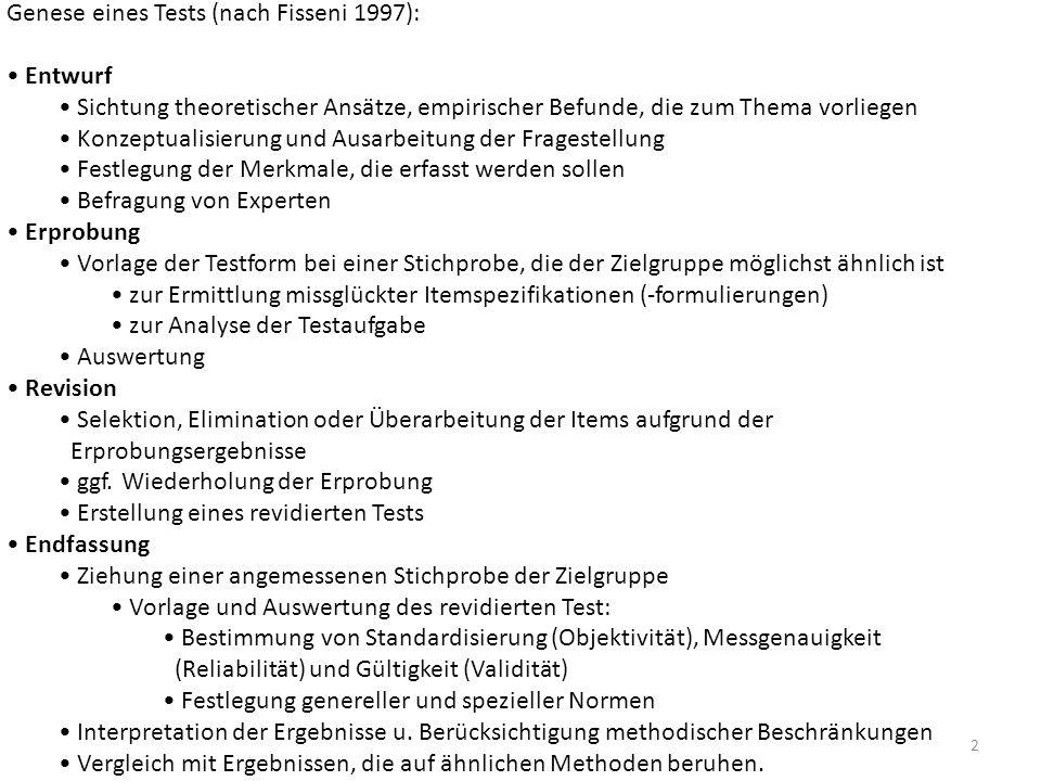 Genese eines Tests (nach Fisseni 1997):