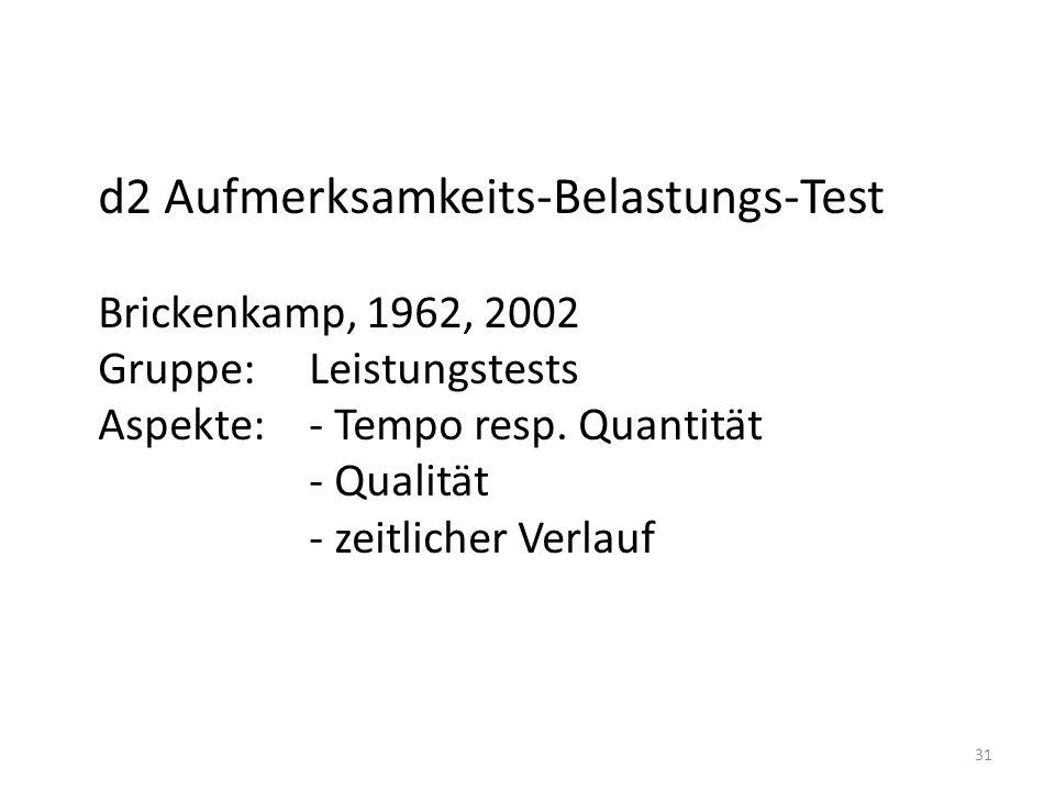 d2 Aufmerksamkeits-Belastungs-Test