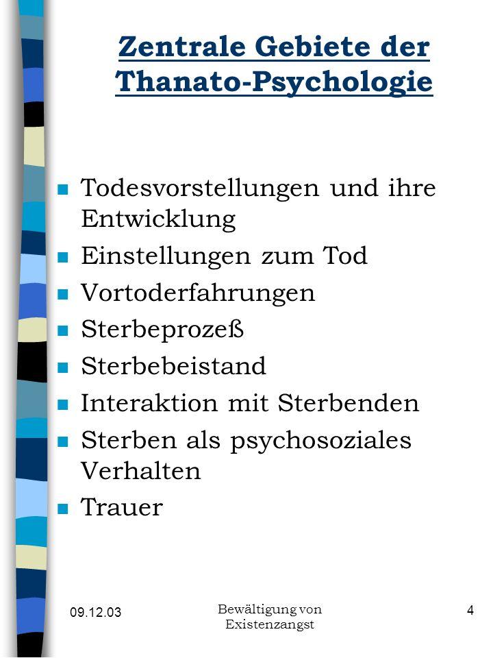 Zentrale Gebiete der Thanato-Psychologie