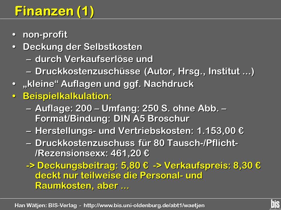 Finanzen (1) non-profit Deckung der Selbstkosten