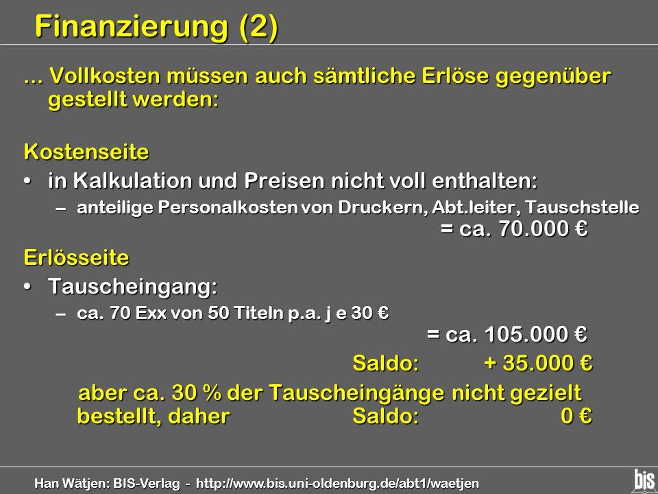 Finanzierung (2) ... Vollkosten müssen auch sämtliche Erlöse gegenüber gestellt werden: Kostenseite.