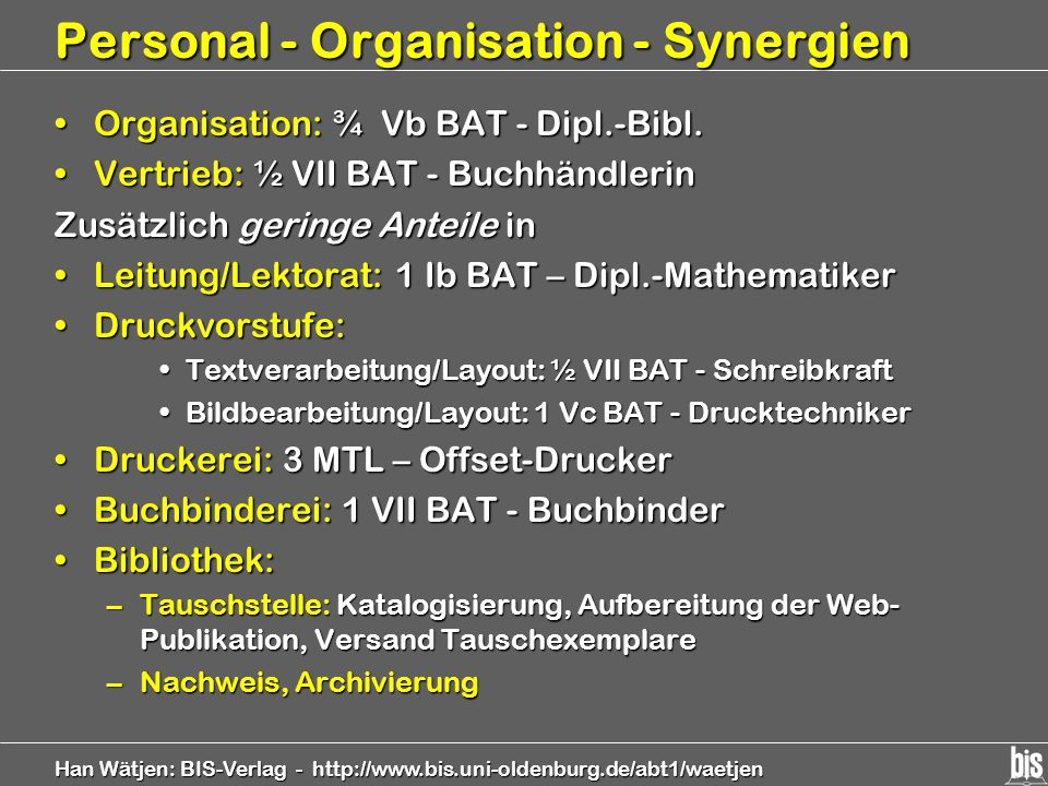 Personal - Organisation - Synergien