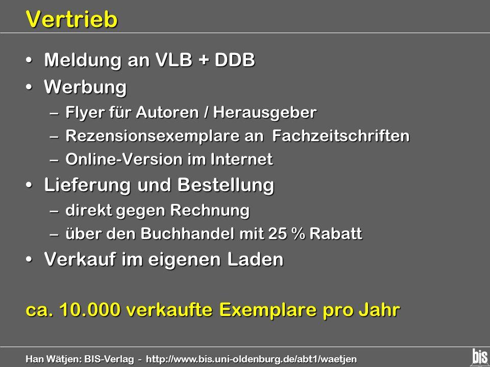 Vertrieb Meldung an VLB + DDB Werbung Lieferung und Bestellung