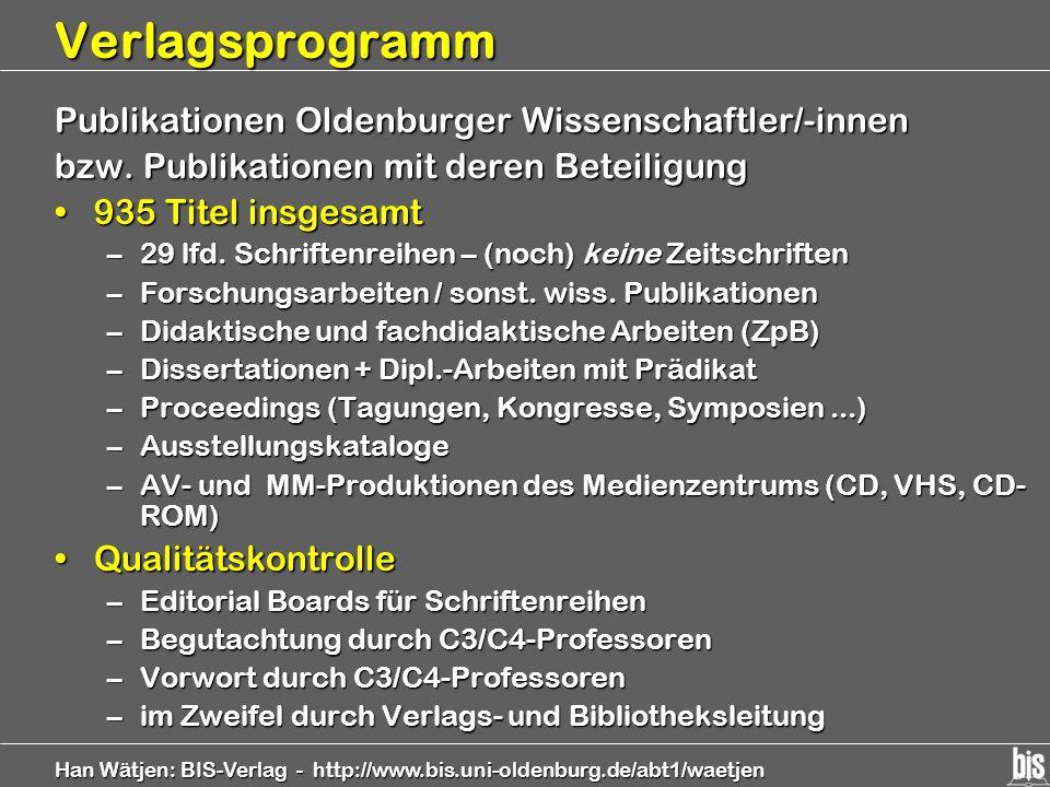 Verlagsprogramm Publikationen Oldenburger Wissenschaftler/-innen